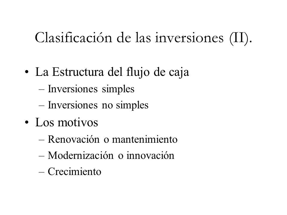 Clasificación de las inversiones (II). La Estructura del flujo de caja –Inversiones simples –Inversiones no simples Los motivos –Renovación o mantenim