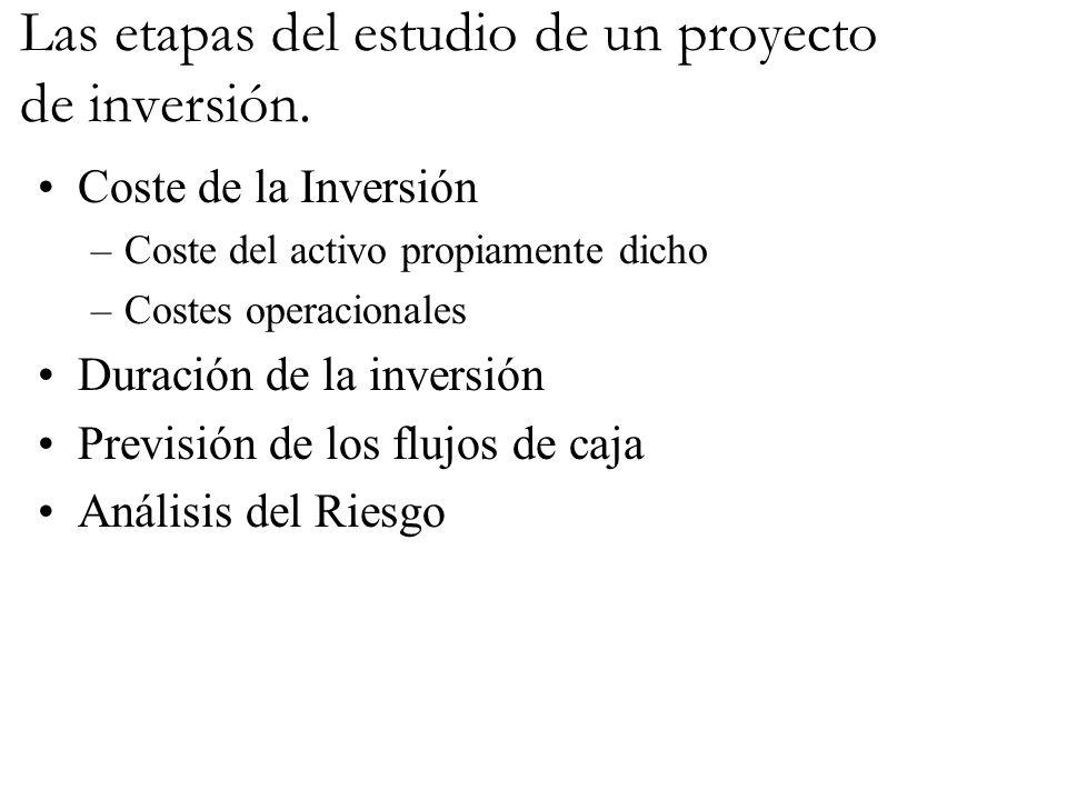 Las etapas del estudio de un proyecto de inversión. Coste de la Inversión –Coste del activo propiamente dicho –Costes operacionales Duración de la inv