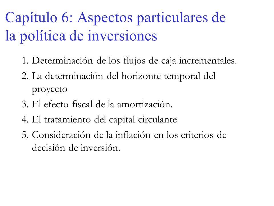 Capítulo 6: Aspectos particulares de la política de inversiones 1.Determinación de los flujos de caja incrementales. 2.La determinación del horizonte