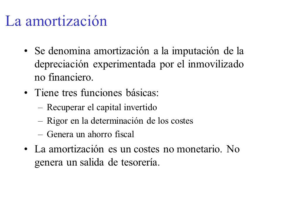 La amortización Se denomina amortización a la imputación de la depreciación experimentada por el inmovilizado no financiero. Tiene tres funciones bási