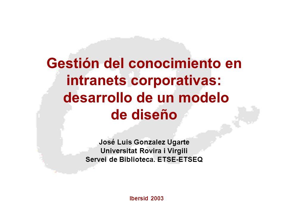 Ibersid 2003 Gestión del conocimiento en intranets corporativas: desarrollo de un modelo de diseño José Luis Gonzalez Ugarte Universitat Rovira i Virg