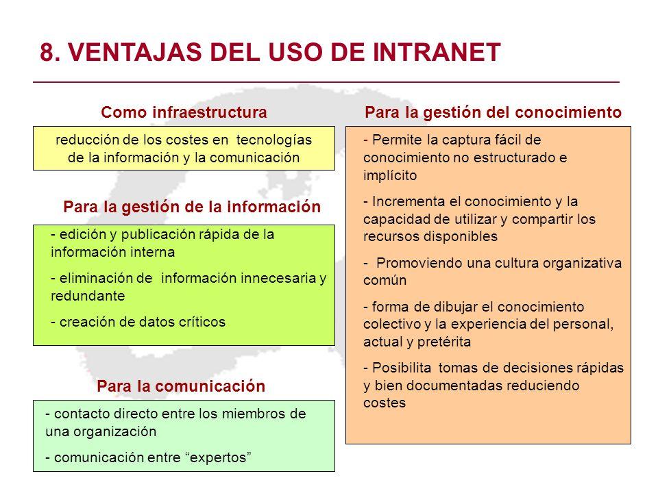 8. VENTAJAS DEL USO DE INTRANET Como infraestructura reducción de los costes en tecnologías de la información y la comunicación Para la gestión de la