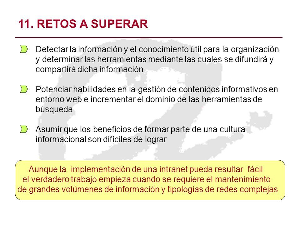 11. RETOS A SUPERAR Detectar la información y el conocimiento útil para la organización y determinar las herramientas mediante las cuales se difundirá
