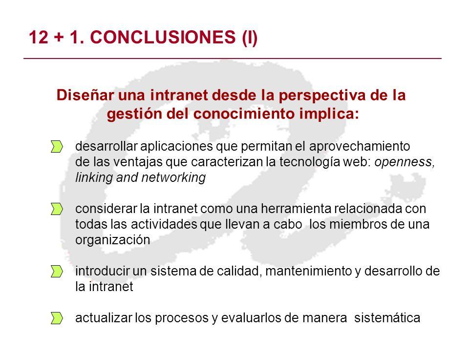 12 + 1. CONCLUSIONES (I) desarrollar aplicaciones que permitan el aprovechamiento de las ventajas que caracterizan la tecnología web: openness, linkin