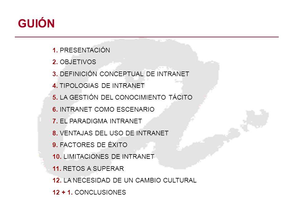 GUIÓN 1. PRESENTACIÓN 2. OBJETIVOS 3. DEFINICIÓN CONCEPTUAL DE INTRANET 4. TIPOLOGIAS DE INTRANET 5. LA GESTIÓN DEL CONOCIMIENTO TÁCITO 6. INTRANET CO