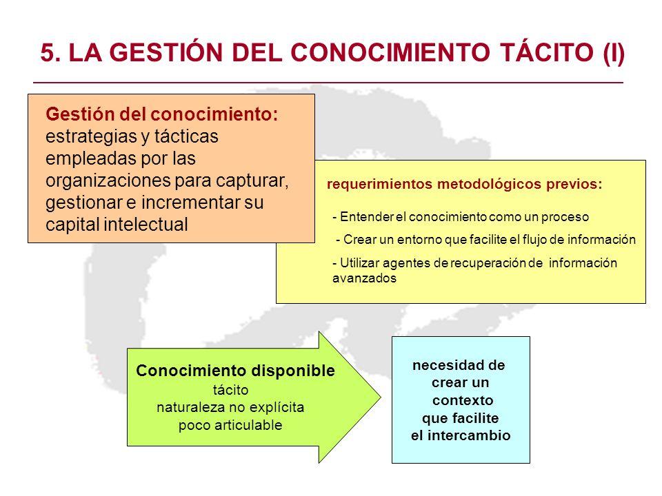5. LA GESTIÓN DEL CONOCIMIENTO TÁCITO (I) - Entender el conocimiento como un proceso - Crear un entorno que facilite el flujo de información - Utiliza