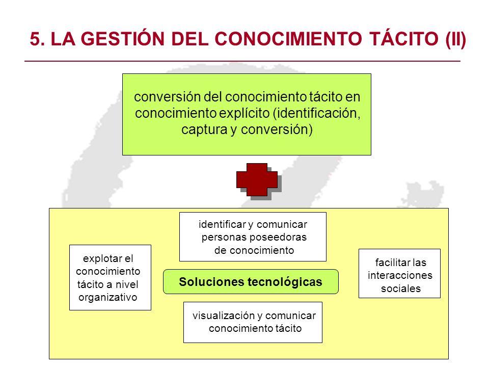 5. LA GESTIÓN DEL CONOCIMIENTO TÁCITO (II) conversión del conocimiento tácito en conocimiento explícito (identificación, captura y conversión) Solucio