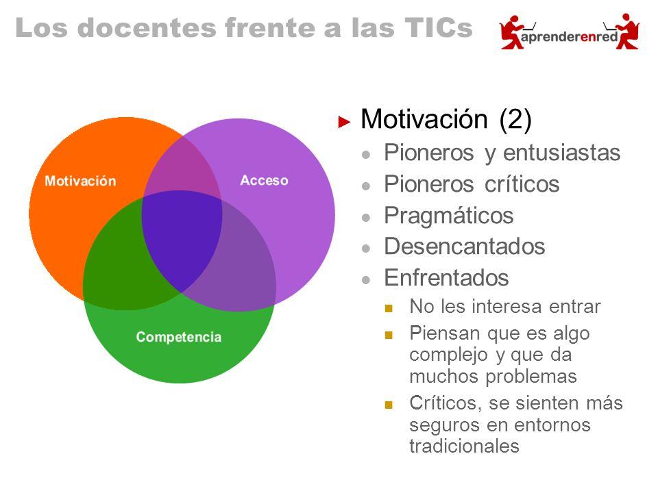 Los docentes frente a las TICs Motivación (2) Pioneros y entusiastas Pioneros críticos Pragmáticos Desencantados Enfrentados No les interesa entrar Pi
