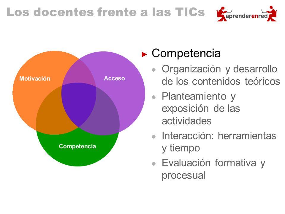 Los docentes frente a las TICs Competencia Organización y desarrollo de los contenidos teóricos Planteamiento y exposición de las actividades Interacc