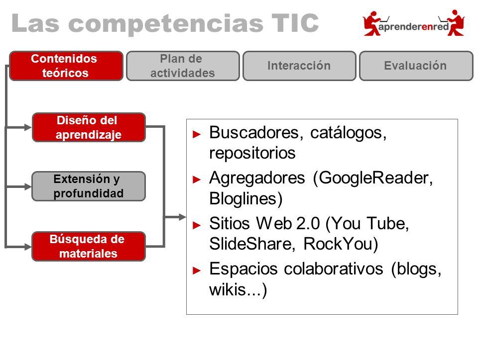 Las competencias TIC Diseño del aprendizaje Extensión y profundidad Búsqueda de materiales Buscadores, catálogos, repositorios Agregadores (GoogleRead