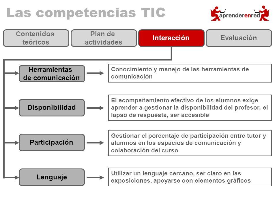 Las competencias TIC Contenidos teóricos Plan de actividades InteracciónEvaluación Herramientas de comunicación Conocimiento y manejo de las herramien