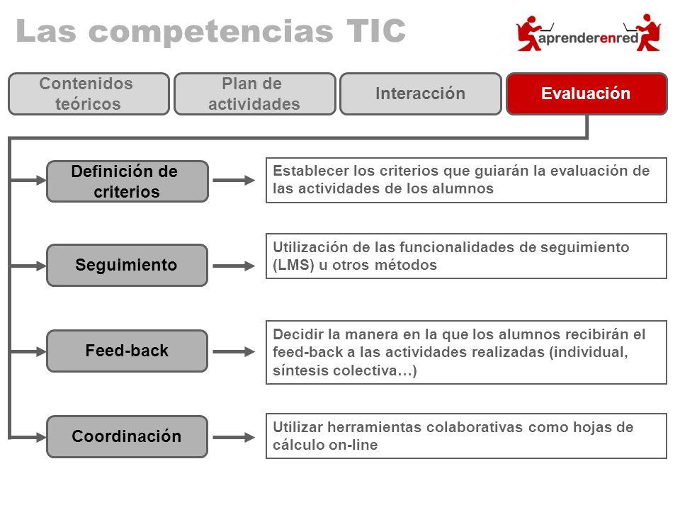 Las competencias TIC Definición de criterios Establecer los criterios que guiarán la evaluación de las actividades de los alumnos Seguimiento Utilizac