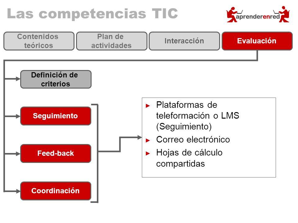 Las competencias TIC Definición de criterios Seguimiento Feed-back Coordinación Contenidos teóricos Plan de actividades InteracciónEvaluación Platafor