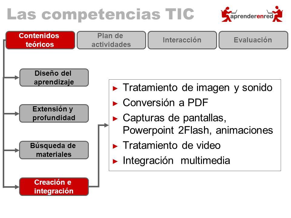 Las competencias TIC Diseño del aprendizaje Extensión y profundidad Búsqueda de materiales Creación e integración Contenidos teóricos Plan de activida