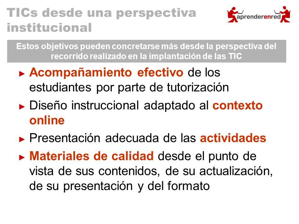Acompañamiento efectivo de los estudiantes por parte de tutorización Diseño instruccional adaptado al contexto online Presentación adecuada de las act