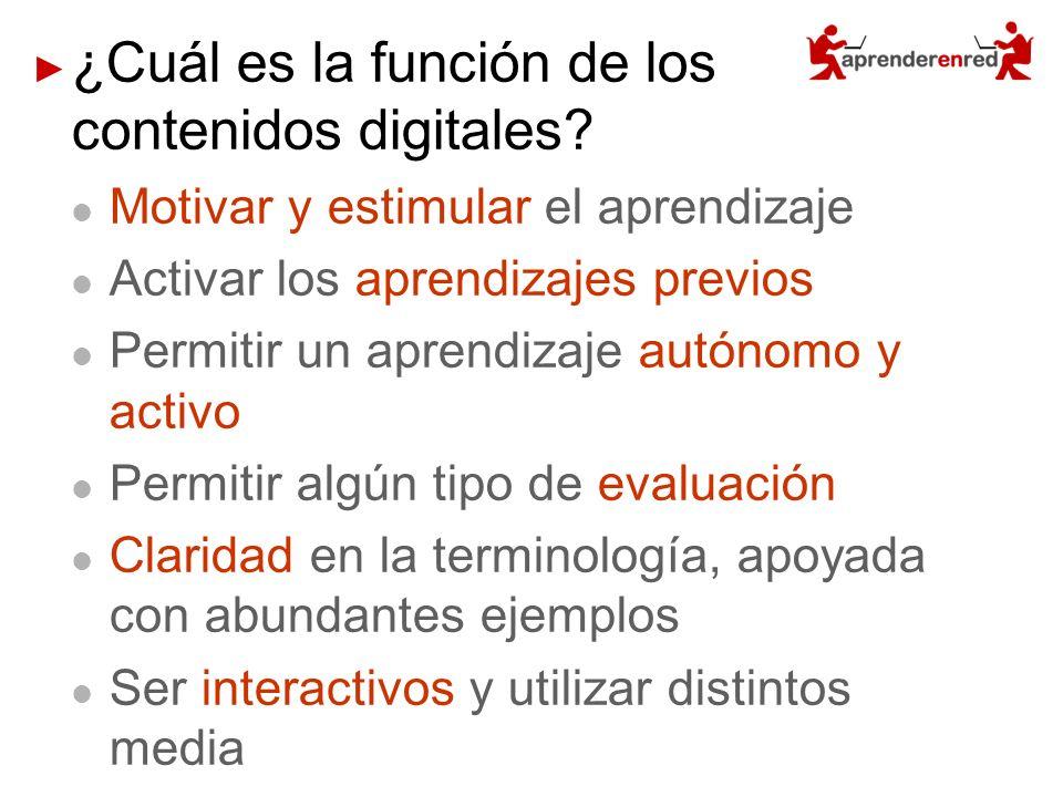 ¿Cuál es la función de los contenidos digitales? Motivar y estimular el aprendizaje Activar los aprendizajes previos Permitir un aprendizaje autónomo