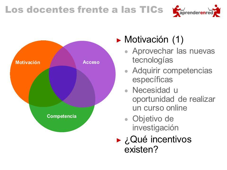Los docentes frente a las TICs Motivación (1) Aprovechar las nuevas tecnologías Adquirir competencias específicas Necesidad u oportunidad de realizar