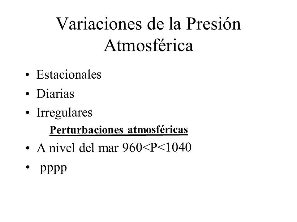 Variaciones de la Presión Atmosférica Estacionales Diarias Irregulares –Perturbaciones atmosféricas A nivel del mar 960<P<1040 pppp