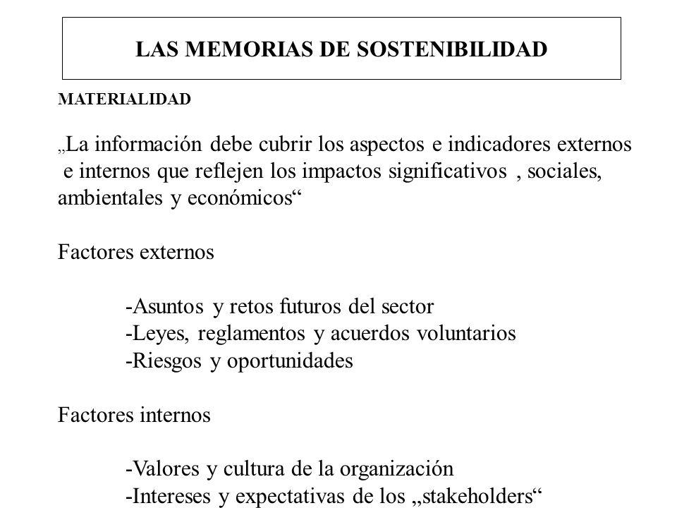 LAS MEMORIAS DE SOSTENIBILIDAD MATERIALIDAD La información debe cubrir los aspectos e indicadores externos e internos que reflejen los impactos signif