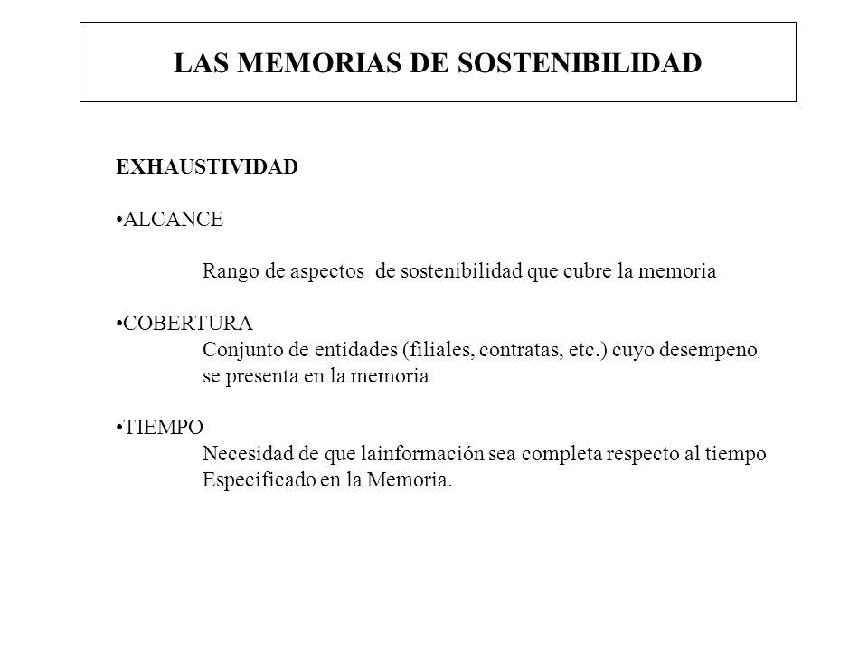 LAS MEMORIAS DE SOSTENIBILIDAD EXHAUSTIVIDAD ALCANCE Rango de aspectos de sostenibilidad que cubre la memoria COBERTURA Conjunto de entidades (filiale
