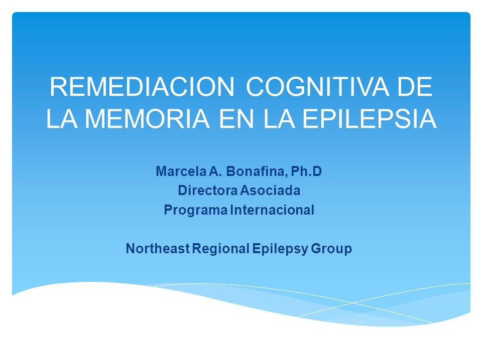 REMEDIACION COGNITIVA DE LA MEMORIA EN LA EPILEPSIA Marcela A. Bonafina, Ph.D Directora Asociada Programa Internacional Northeast Regional Epilepsy Gr