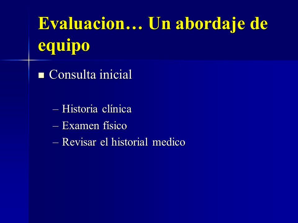Evaluacion… Un abordaje de equipo Consulta inicial Consulta inicial –Historia clínica –Examen físico –Revisar el historial medico