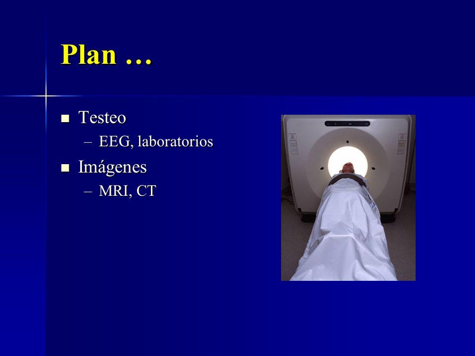 Plan … Testeo Testeo –EEG, laboratorios Imágenes Imágenes –MRI, CT