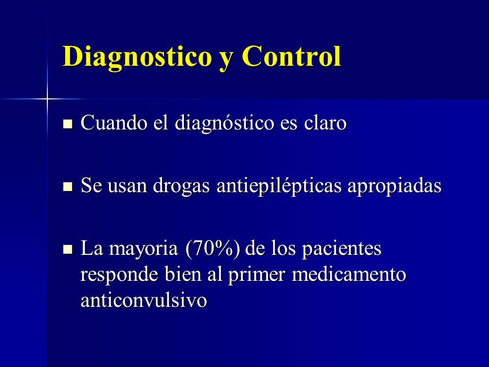 Diagnostico y Control Cuando el diagnóstico es claro Cuando el diagnóstico es claro Se usan drogas antiepilépticas apropiadas Se usan drogas antiepilé