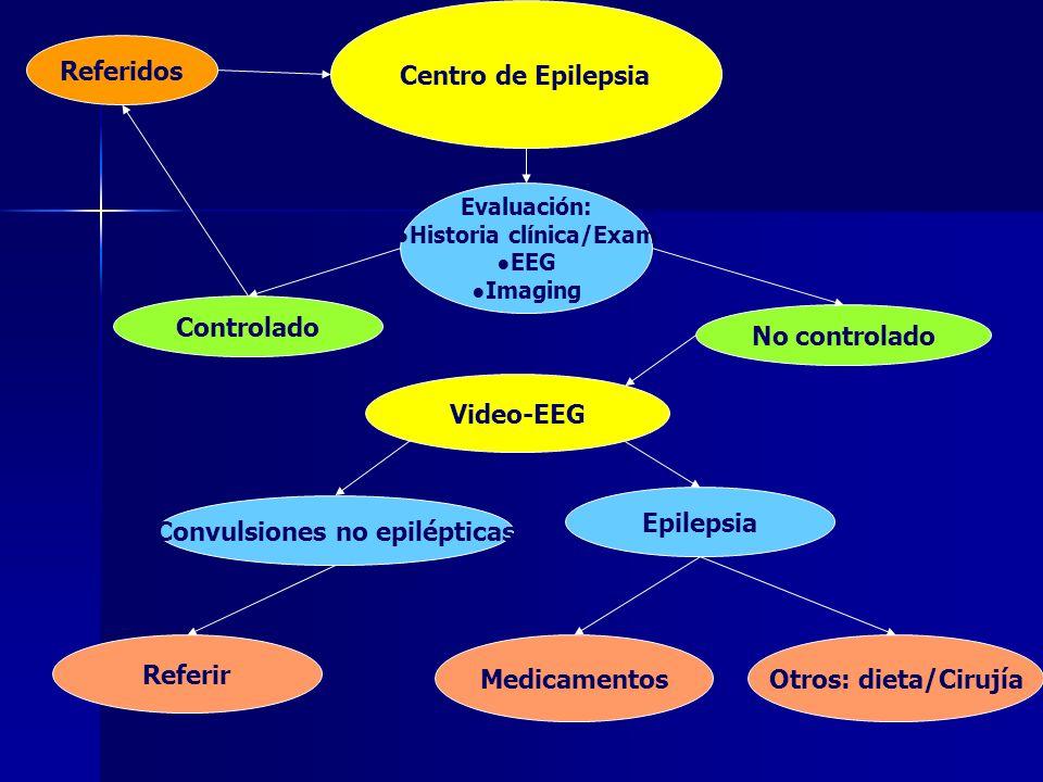 Referidos Centro de Epilepsia Evaluación: Historia clínica/Exam EEG Imaging Controlado No controlado Video-EEG Convulsiones no epilépticas Epilepsia M