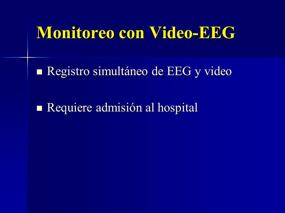 Monitoreo con Video-EEG Registro simultáneo de EEG y video Registro simultáneo de EEG y video Requiere admisión al hospital Requiere admisión al hospi