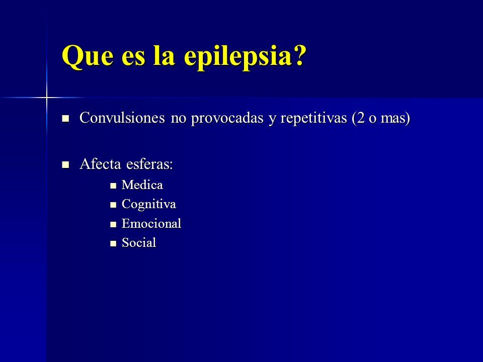 Que es la epilepsia? Convulsiones no provocadas y repetitivas (2 o mas) Convulsiones no provocadas y repetitivas (2 o mas) Afecta esferas: Afecta esfe