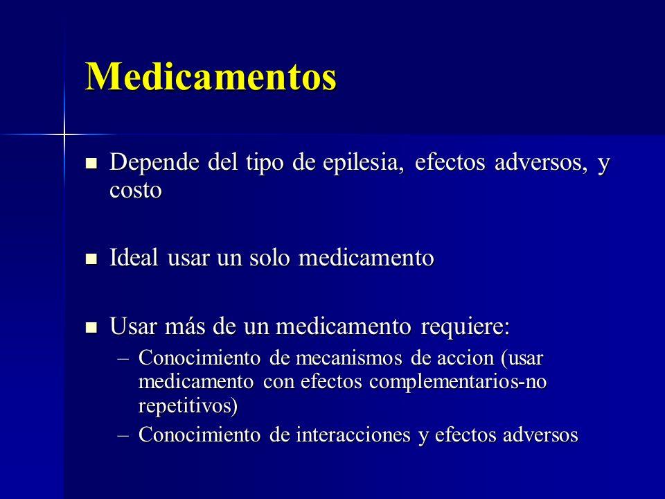 Medicamentos Depende del tipo de epilesia, efectos adversos, y costo Depende del tipo de epilesia, efectos adversos, y costo Ideal usar un solo medica