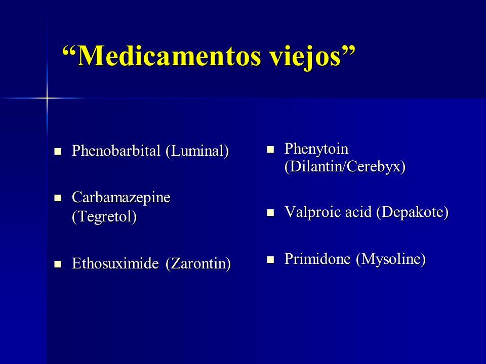 Medicamentos viejos Phenobarbital (Luminal) Phenobarbital (Luminal) Carbamazepine (Tegretol) Carbamazepine (Tegretol) Ethosuximide (Zarontin) Ethosuxi