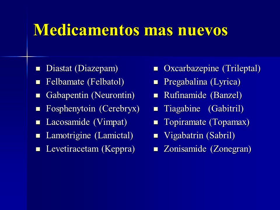 Medicamentos mas nuevos Diastat (Diazepam) Diastat (Diazepam) Felbamate (Felbatol) Felbamate (Felbatol) Gabapentin (Neurontin) Gabapentin (Neurontin)