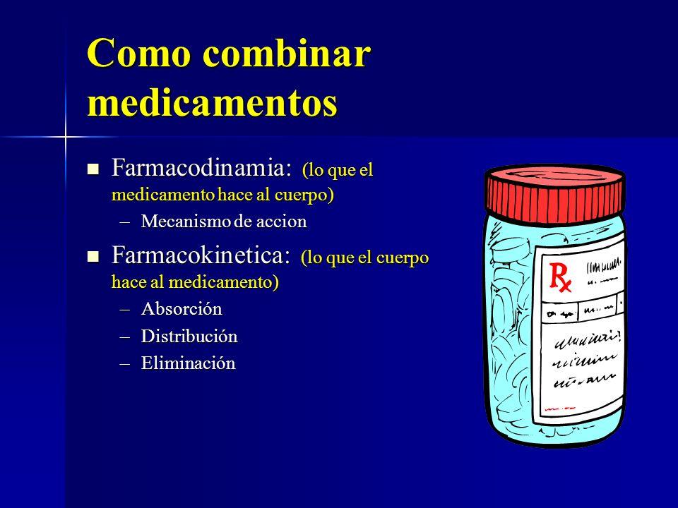 Como combinar medicamentos Farmacodinamia: (lo que el medicamento hace al cuerpo) Farmacodinamia: (lo que el medicamento hace al cuerpo) –Mecanismo de