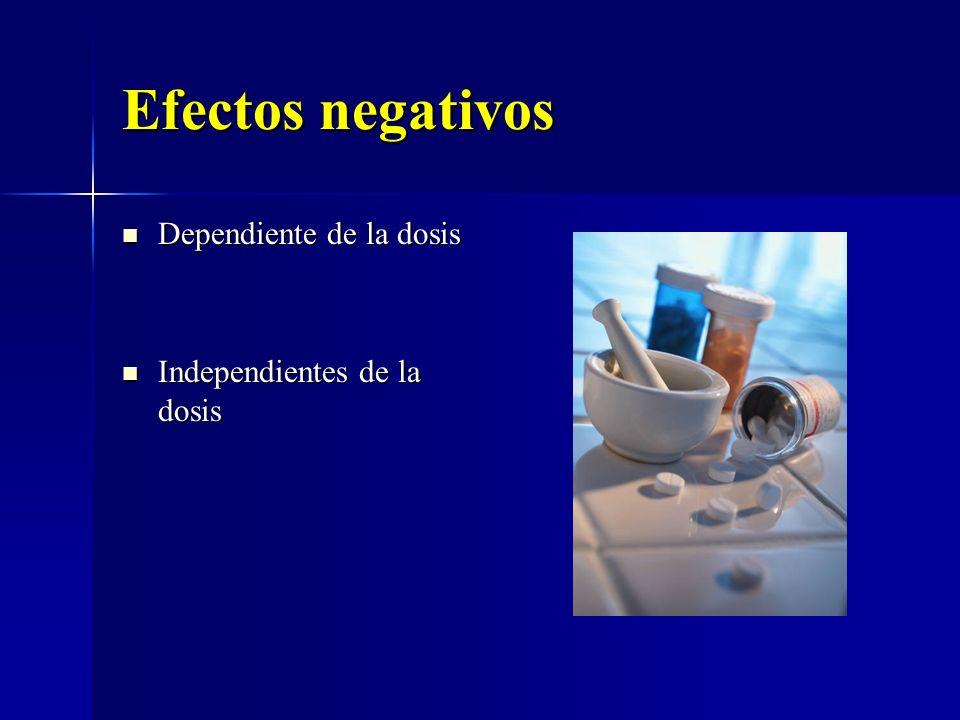Efectos negativos Dependiente de la dosis Dependiente de la dosis Independientes de la dosis Independientes de la dosis
