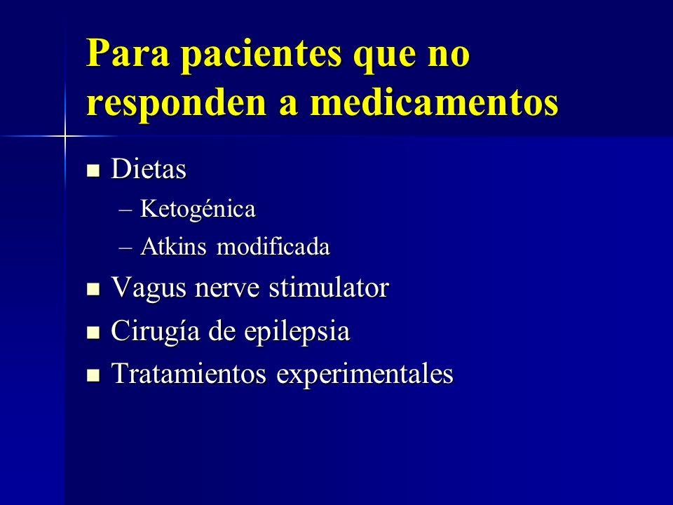 Para pacientes que no responden a medicamentos Dietas Dietas –Ketogénica –Atkins modificada Vagus nerve stimulator Vagus nerve stimulator Cirugía de e