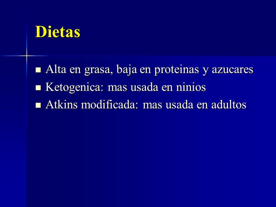Dietas Alta en grasa, baja en proteinas y azucares Alta en grasa, baja en proteinas y azucares Ketogenica: mas usada en ninios Ketogenica: mas usada e
