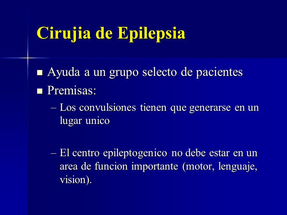 Cirujia de Epilepsia Ayuda a un grupo selecto de pacientes Ayuda a un grupo selecto de pacientes Premisas: Premisas: –Los convulsiones tienen que gene