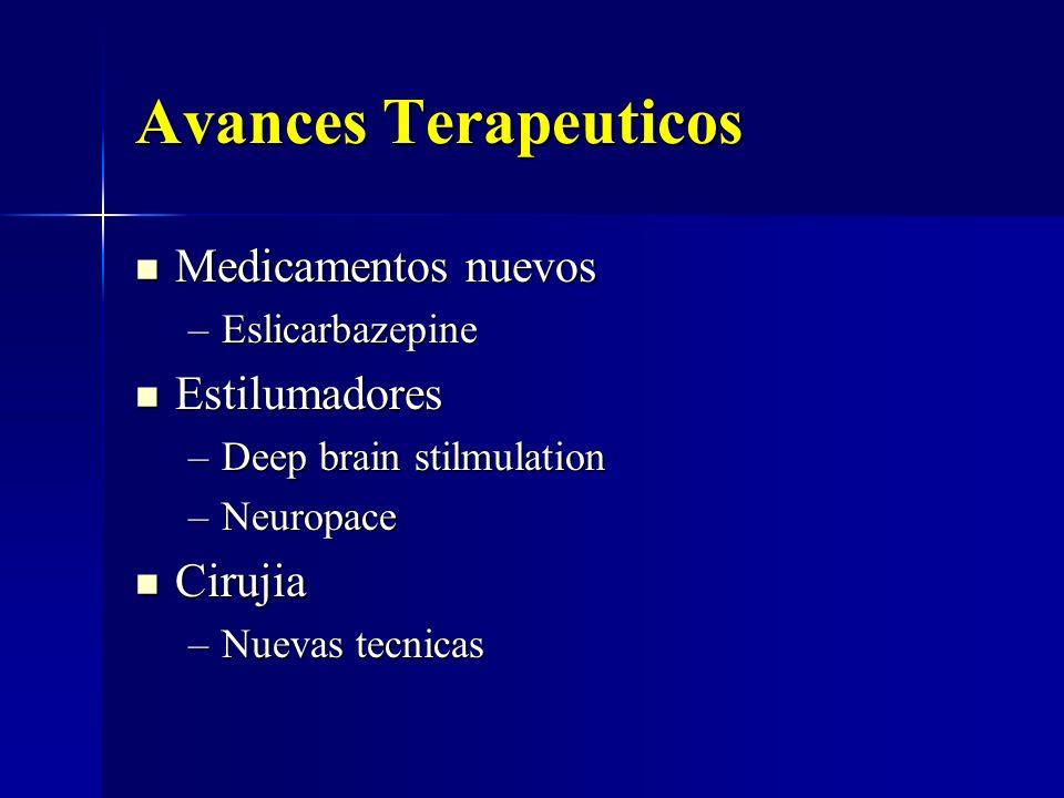 Avances Terapeuticos Medicamentos nuevos Medicamentos nuevos –Eslicarbazepine Estilumadores Estilumadores –Deep brain stilmulation –Neuropace Cirujia