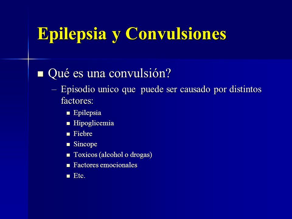 Epilepsia y Convulsiones Qué es una convulsión? Qué es una convulsión? –Episodio unico que puede ser causado por distintos factores: Epilepsia Epileps