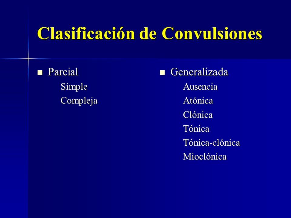 Clasificación de Convulsiones Parcial ParcialSimpleCompleja Generalizada Generalizada Ausencia Atónica Clónica Tónica Tónica-clónica Mioclónica