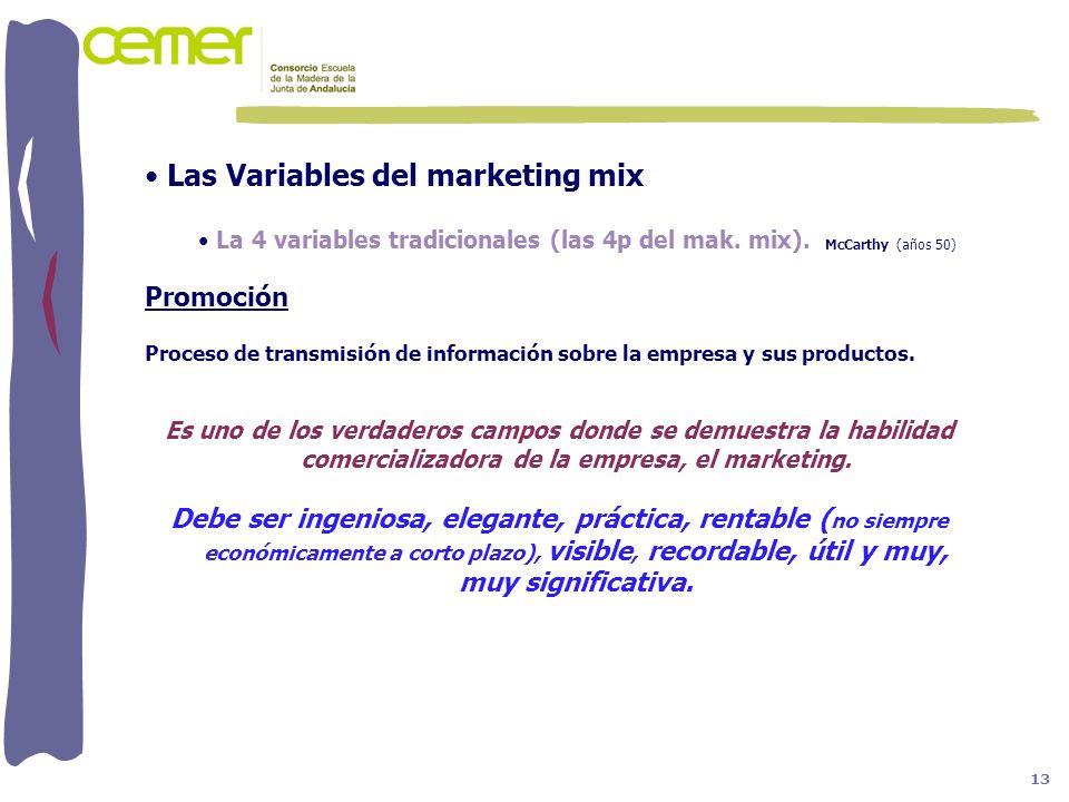 Las Variables del marketing mix La 4 variables tradicionales (las 4p del mak. mix). McCarthy (años 50) Promoción Proceso de transmisión de información