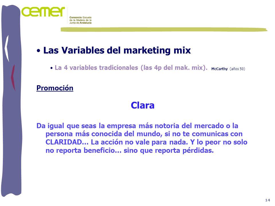 Las Variables del marketing mix La 4 variables tradicionales (las 4p del mak. mix). McCarthy (años 50) Promoción Clara Da igual que seas la empresa má