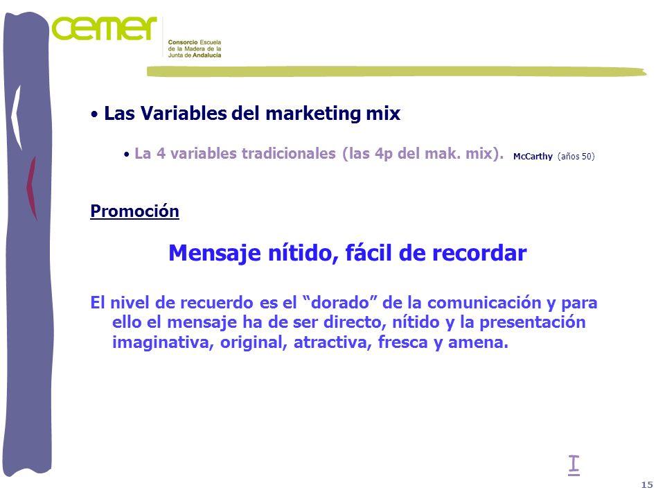 Las Variables del marketing mix La 4 variables tradicionales (las 4p del mak. mix). McCarthy (años 50) Promoción Mensaje nítido, fácil de recordar El