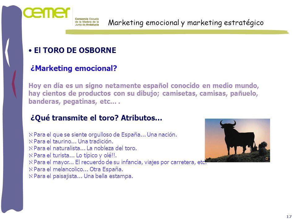El TORO DE OSBORNE ¿Marketing emocional? Hoy en día es un signo netamente español conocido en medio mundo, hay cientos de productos con su dibujo; cam