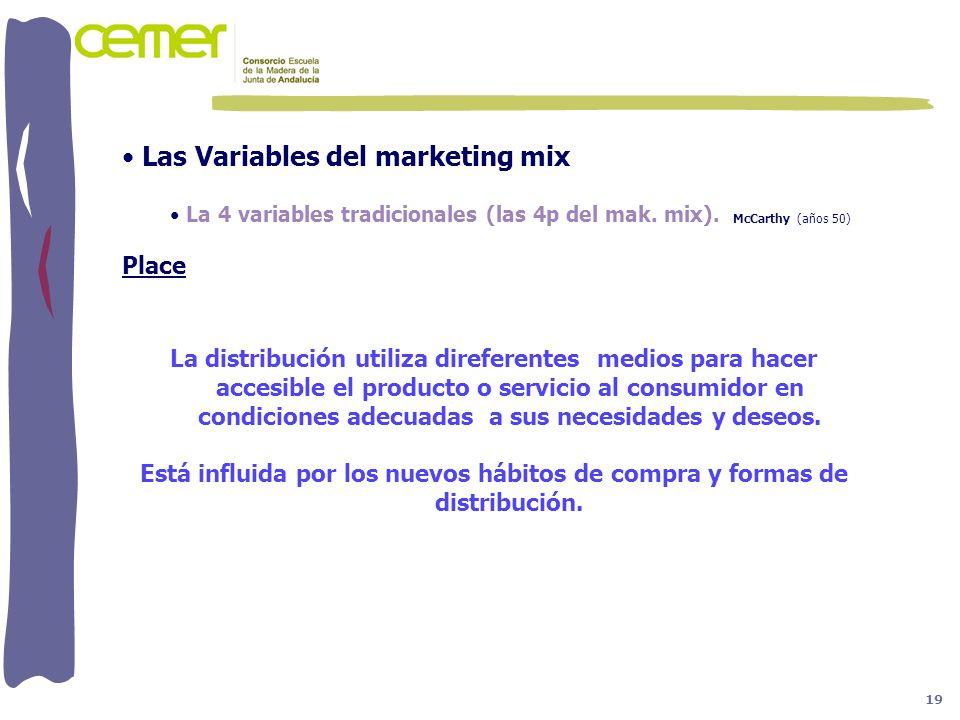 Las Variables del marketing mix La 4 variables tradicionales (las 4p del mak. mix). McCarthy (años 50) Place La distribución utiliza direferentes medi