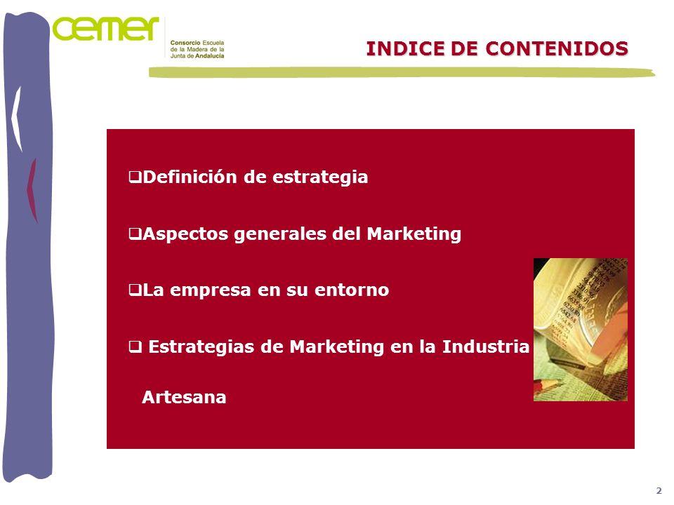 Definición de estrategia Aspectos generales del Marketing La empresa en su entorno Estrategias de Marketing en la Industria Artesana INDICE DE CONTENI