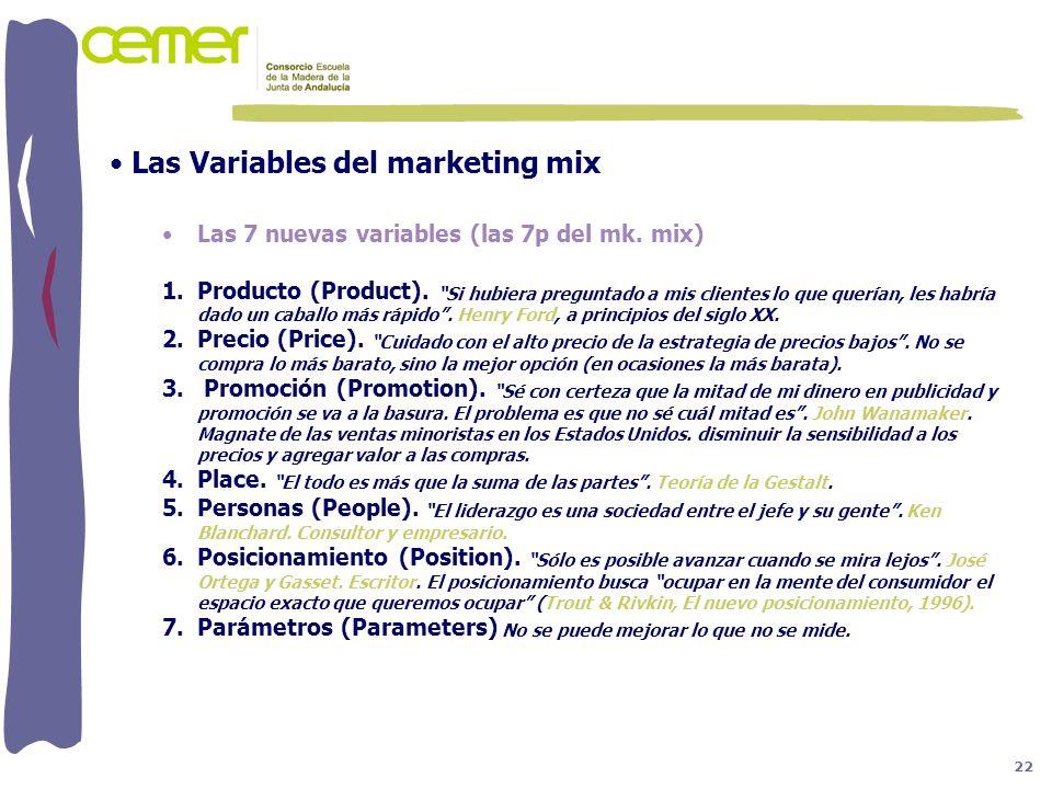 Las Variables del marketing mix Las 7 nuevas variables (las 7p del mk. mix) 1.Producto (Product). Si hubiera preguntado a mis clientes lo que querían,