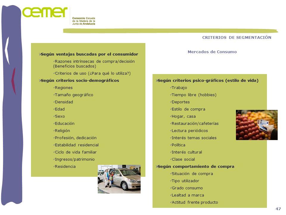 Mercados de Consumo Según criterios psico-gráficos (estilo de vida) Trabajo Tiempo libre (hobbies) Deportes Estilo de compra Hogar, casa Restauración/